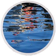 Reflections In Red Round Beach Towel