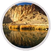 Reflections In The Crooked River Round Beach Towel