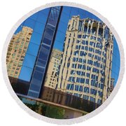 Round Beach Towel featuring the photograph Reflections In The Rolex Bldg. by Robert ONeil