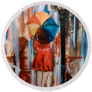 Round Beach Towel featuring the painting Reflections  by Lori  Lovetere