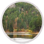 Round Beach Towel featuring the photograph Reflections by Mary Carol Story
