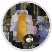 Round Beach Towel featuring the photograph Reflections Of A Gentleman's Tailor by Terri Waters