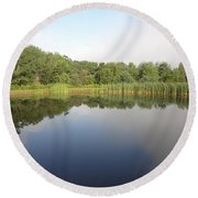 Reflections Of A Still Pond Round Beach Towel by Michael Porchik