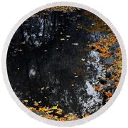 Reflections Of Autumn Round Beach Towel by Photographic Arts And Design Studio