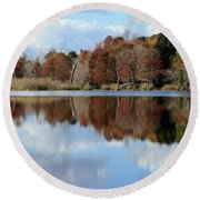 Round Beach Towel featuring the photograph Reflections Of Color by Debra Forand