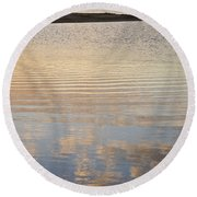 Reflections Of Dusk Round Beach Towel by Allen Sheffield