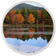 Reflections Of Fall Round Beach Towel by Kerri Mortenson
