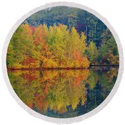 Reflections Of Fall Round Beach Towel by Roger Becker