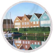 Round Beach Towel featuring the painting Reflections Of Holland by Lynne Reichhart