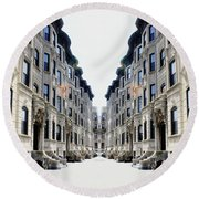 Reflections Of My Childhood Home Round Beach Towel by Lilliana Mendez
