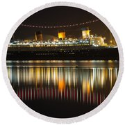 Reflections Of Queen Mary Round Beach Towel