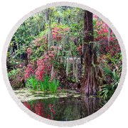 Reflections Of Spring In The South - Digital Painting Round Beach Towel