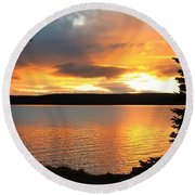 Round Beach Towel featuring the photograph Reflections Of Sunset by Athena Mckinzie