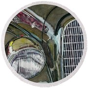 Round Beach Towel featuring the painting Reflections On 1931 Alfa Romeo Milano by Anna Ruzsan