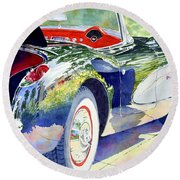 Reflections On A Corvette Round Beach Towel