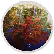 Round Beach Towel featuring the photograph Reflections On Algonquin by David Porteus
