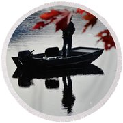 Reflections On Fishing Round Beach Towel