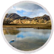Reflections On Landmannalaugar Round Beach Towel
