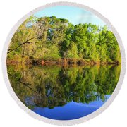 Reflections On The River Round Beach Towel
