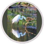 Reflections On Wildwood Lake Round Beach Towel