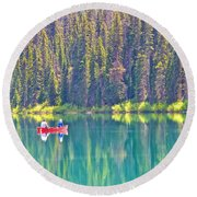 Reflective Fishing On Emerald Lake In Yoho National Park-british Columbia-canada  Round Beach Towel