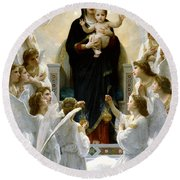 Regina Angelorum Round Beach Towel by William Bouguereau