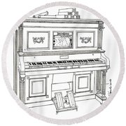 Regina Player Piano Round Beach Towel