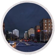 Regina Street At Night Round Beach Towel