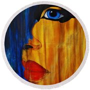 Round Beach Towel featuring the painting Reign Over Me 3 by Michael Cross