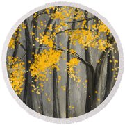 Rejuvenating Elements- Yellow And Gray Art Round Beach Towel