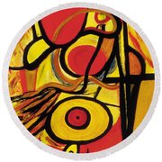 Round Beach Towel featuring the painting Relativity 2 by Stephen Lucas
