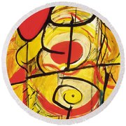 Round Beach Towel featuring the painting Relativity 3 by Stephen Lucas