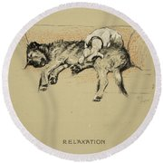 Relaxation, 1930, 1st Edition Round Beach Towel