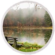 Round Beach Towel featuring the photograph Relaxing Autumn Beauty Landscape by Christina Rollo