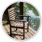 Alone By The Lake Round Beach Towel