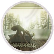 Relaxing Octopus...  Round Beach Towel