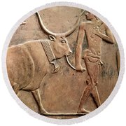 Relief Depicting A Peasant Leading A Cow To Sacrifice, From The Mastab Of Ptah-hotep Round Beach Towel