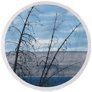 Round Beach Towel featuring the photograph Remnants Of The Fire by Laurel Powell