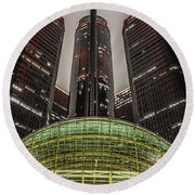 Renaissance Center Detroit Michigan Round Beach Towel by Nicholas  Grunas