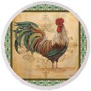 Renaissance Rooster-d-green Round Beach Towel