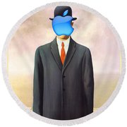 Rene Magritte Son Of Man Apple Computer Logo Round Beach Towel
