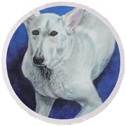 Round Beach Towel featuring the painting Reno by Jeanne Fischer