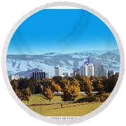 Reno Skyline From Rancho San Rafael Round Beach Towel