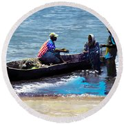 Round Beach Towel featuring the painting Repairing The Net At Lake Victoria by Anthony Mwangi