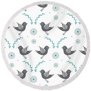 Repeat Lovebird Round Beach Towel by Susan Claire