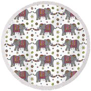 Repeat Print - Indian Elephant Round Beach Towel
