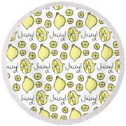 Repeat Prtin - Juicy Lemon Round Beach Towel by Susan Claire