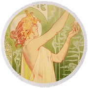 Reproduction Of A Poster Advertising 'robette Absinthe' Round Beach Towel