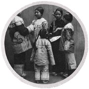 Rescued Chinese Slave Girls Round Beach Towel