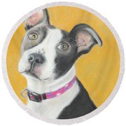 Round Beach Towel featuring the painting Rescued Pit Bull by Jeanne Fischer